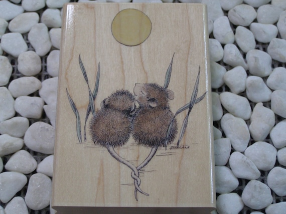 Together Under the Moon House Mouse wood mounted rubber stamp
