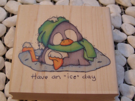 Ice Day Penguin Whipper Snapper wood mounted Rubber Stamp