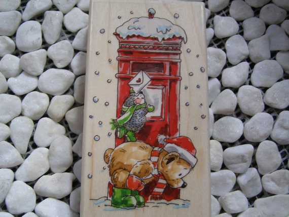 Hand-Mailed Teddy Bear Penny Black wood mounted Rubber Stamp
