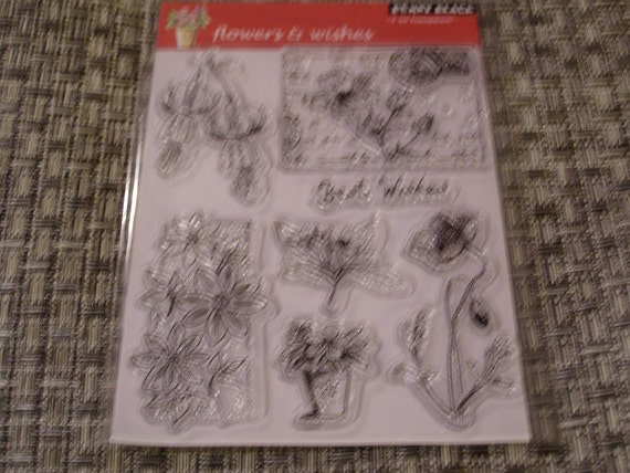 Flowers and Wishes set of Clear Unmounted Stamps from Penny Black - set of  7 pieces