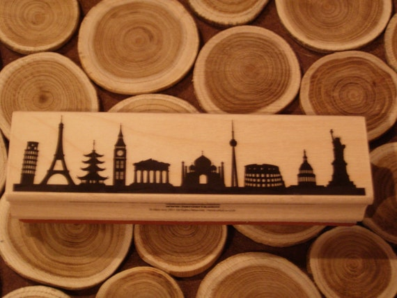 International Skyline Silhouette wood mounted Rubber Stamp