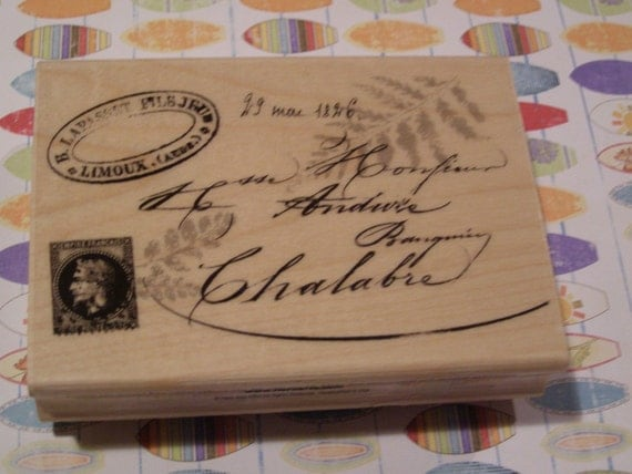 French Post wood mounted Rubber Stamp