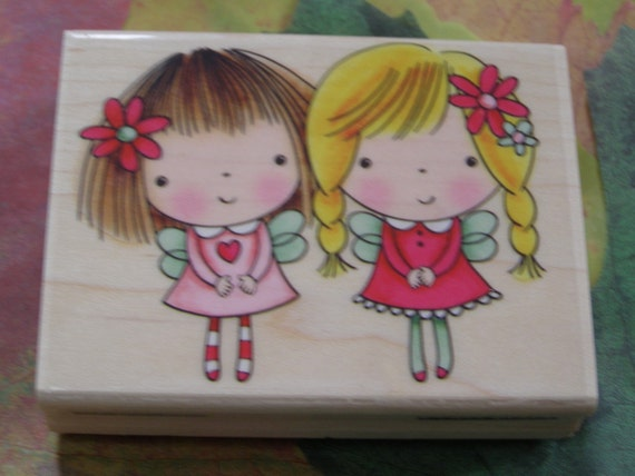 Mimi and friend wood mounted Rubber Stamp from Penny Black