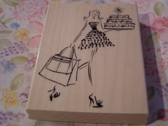 Sweet Surprise Penny Black wood mounted Rubber Stamp