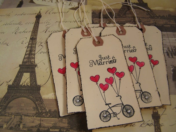 Just Married - Wedding- Wish Tree  handmade Gift-Tag set of 6 French Shabby Chic Style