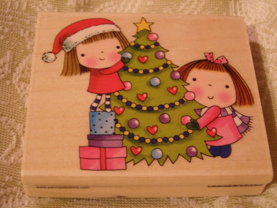 The Decorators Christmas Penny Black wood mounted Rubber Stamp