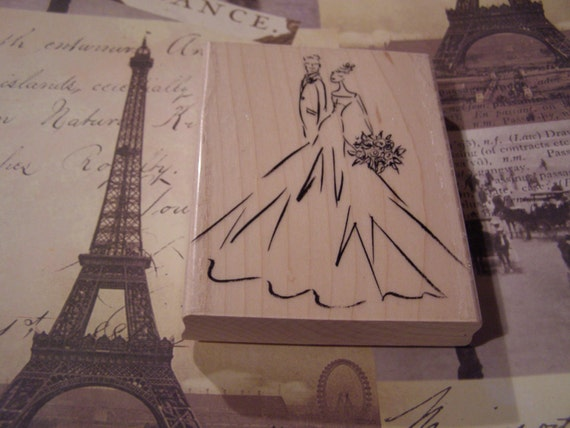 Bride & Groom wood mounted Rubber Stamp from Penny Black