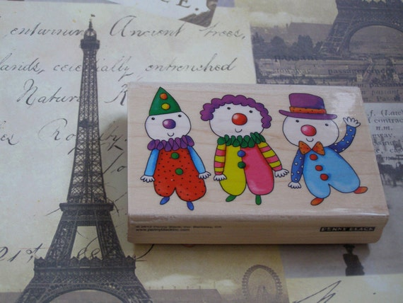 Three Clowns Penny Black wood mounted Rubber Stamp
