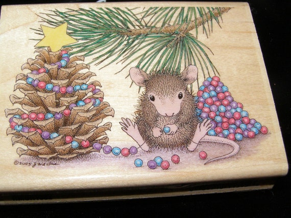 Beaded Tree Christmas Stamp House Mouse Designs Wood Mounted