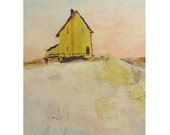 Yellow House, winter  - ACEO, a  watercolor enhanced print
