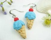 Bubble Gum Blue Ice Cream Earrings, food earrings, food jewelry, summer earrings, icecream, ice cream charm, polymer clay cute, blue, kawaii