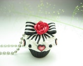Rose Hearts Stripes and Dots Cupcake Necklace - food jewelry