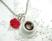 Lovely Coffee Cup Necklace - Food Jewelry , food necklace