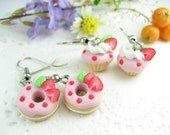 Mini Pink Strawberry Donut and Cupcake Earrings (2pairs) Food jewelry earrings miniature charm foodie gifts dangle earrings best friend gift