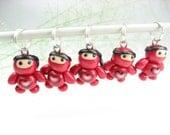 Red Baby Ninja Love Stitch Markers (Set of 5)