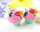 Pink Fruit Cupcake Earrings - food jewelry, cupcake jewelry, food earrings, fruit earrings, foodie food gift for her, cute polymer clay