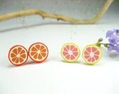 Orange and Grapefruit Earrings (2 small pairs)