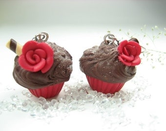 Red Cupcake Earrings - food jewelry, food earrings, rose earrings, cupcake jewelry, gift for her, polymer clay, food womens gift chocolate