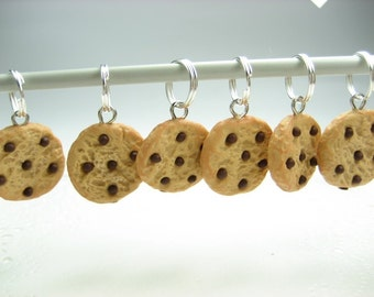 Chocolate Chip Cookies Stitch Markers (Set of 6), cute food charms, knitting accessories, knit, gift for knitters, food gift for her