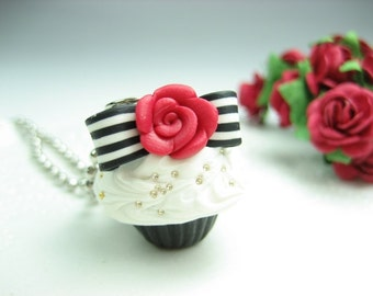 Rose and Bow Cupcake Necklace - Food Jewelry food gift for her cupcake jewelry miniature food charm necklace rose bow black and white
