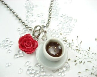 Coffee Necklace, rose necklace coffee cup necklace jewelry gifts for coffee lovers miniature polymer clay cute unique best friends charms