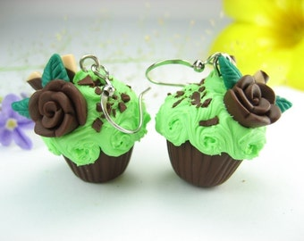 Mint Green Cupcake Earrings food jewelry, food earrings, grasshopper cupcake food womens gift for her, cupcake  jewelry, clay rose miniature
