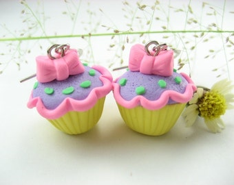 Lolita Cupcake Earrings - food jewelry food earrings polymer clay lolita jewelry lolita earrings food gift for her pink bow kawaii cute