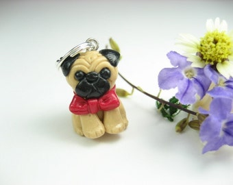 Cute Pug Necklace pug jewelry, dog necklace, dog jewelry, pug gifts, dog gift for her, dog lover gifts, miniature animal, polymer clay charm
