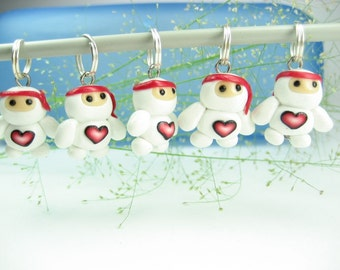 White Baby Ninja Love Stitch Markers (Set of 5) knitting accessories knit charms polymer clay cute