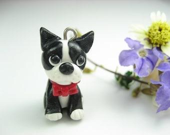 Cute Mini Boston Terrier Necklace, dog charm , dog jewelry , dog keychain, Boston Terrier jewelry, Boston terrier gift, dog lover gift, clay