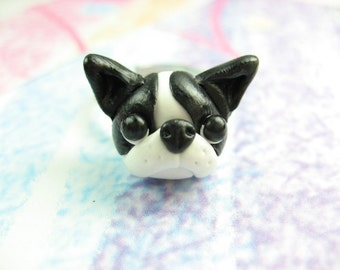 Cute Boston Terrier Ring, Boston terrier gift, Boston Terrier jewelry, dog charm, dog ring, polymer clay, miniature animal, black and white