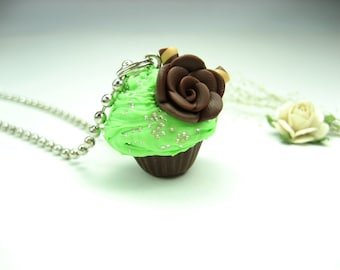 Mini Mint Cupcake Pendant - food jewelry
