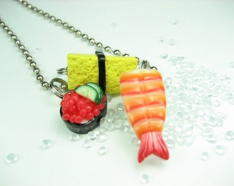 Sushi Necklace Ebi, Tamago and Ikura - Food jewelry , food necklace, sushi jewelry, food gift, gift for her, friend gifts, sushi, Japanese