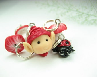Whimsical Red Stitch markers Set of 6, ladybug mushroom elf charms knit knitting accessories polymer clay miniature cute gifts for knitters