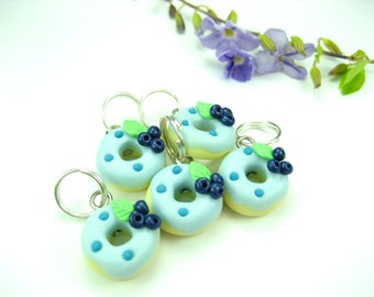 Blue Berry Donut Stitch Markers set of 5 cute food stitch markers charms polymer clay knitting accessories gift for knitters her blueberry