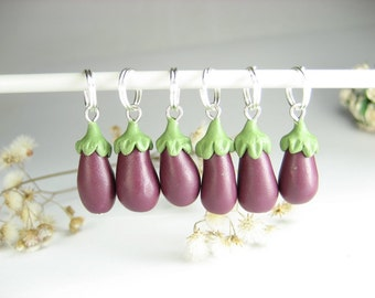 Eggplant Stitch markers Set of 6, vegetable charms, polymer clay, vegan gifts knitting accessories harvest gifts for knitters cute miniature