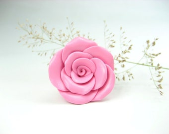 Lovely Pink Rose Ring, rose jewelry, rose gift, flower ring, flower jewelry, polymer clay, floral, cute pink, lovely rose, nature garden
