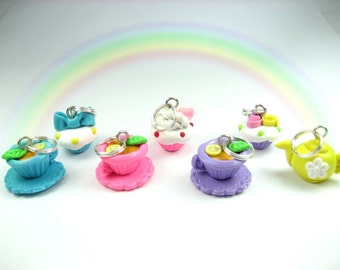 Teatime Teacup and Cupcake Stitch markers (Set of 7), food stitch markers