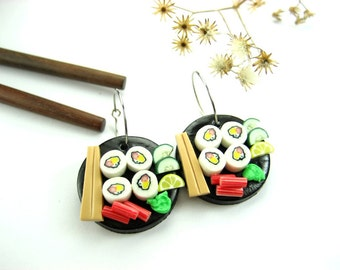 Black Disk Sushi Earrings