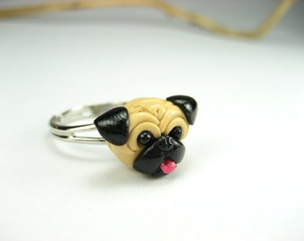 Happy Pug Ring, pug gifts, dog ring, dog jewelry, pug jewelry, dog lover gift, pug life, pet, miniature animal, polymer clay, pug, cute, dog