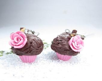 Pink Rose Cupcake Earrings Food Jewelry