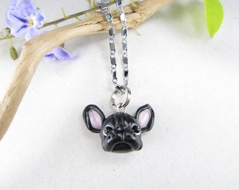 French Bulldog Necklace Black, French Bulldog gifts jewelry dog miniature pet lover gifts charms polymer clay miniature dog Frenchie gifts