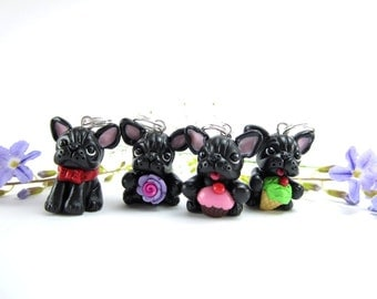 Black French Bulldog Stitch Markers (Set of 4), Frenchie French bulldog gifts, knitting accessories, dog lover gift for knitters charm clay