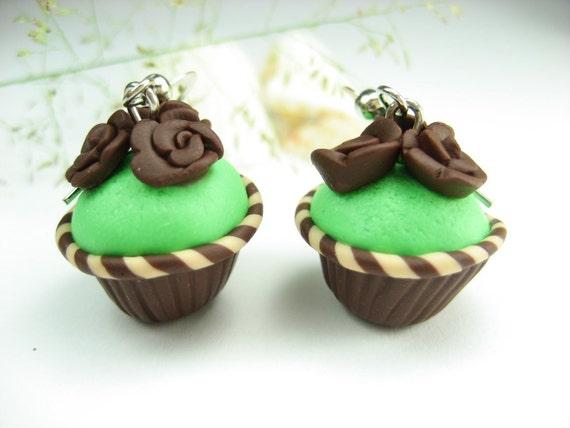 Mint and Chocolate Rose Cupcake Earrings - food jewelry, food earrings