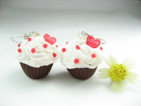 Chocolate Love Cupcake Earrings - Food Jewelry