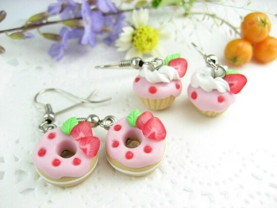 Mini Pink Strawberry Donut and Cupcake Earrings (2pairs) Food jewelry earrings miniature charm foodie gifts dangle earrings best friend gift