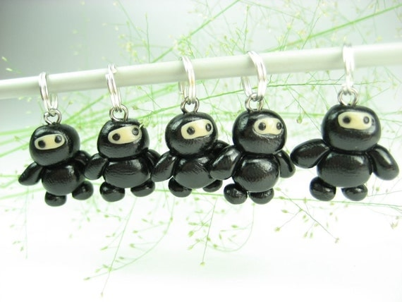 Baby Black Ninja Stitch Markers Set of 5, funny ninja charms, knitting accessories, knit gift for knitters, cute kawaii polymer clay unique