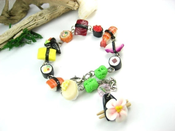 Sushi Bracelet - Food Jewelry, sushi jewelry, sushi set collection, unique gift for her women, sushi lover, charm bracelet Japanese jewelry