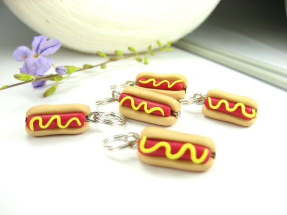 Hot Dog Sandwich Stitch Markers (Set of 5) knit knitting stitch markers polymer clay food charms