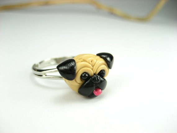 Happy Pug Ring, pug gift, dog ring, dog jewelry, pug jewelry, dog lover gift, pug life, pet, miniature animal, polymer clay, pug, cute, dog